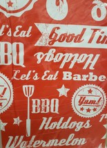 "FLANNEL BACK VINYL TABLECLOTH 60"" ROUND, BBQ WORDS ON RED by AP - $15.83"