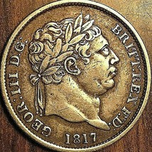 1817 GREAT BRITAIN GEORGE III SILVER SHILLING COIN - Excellent example! - $63.99