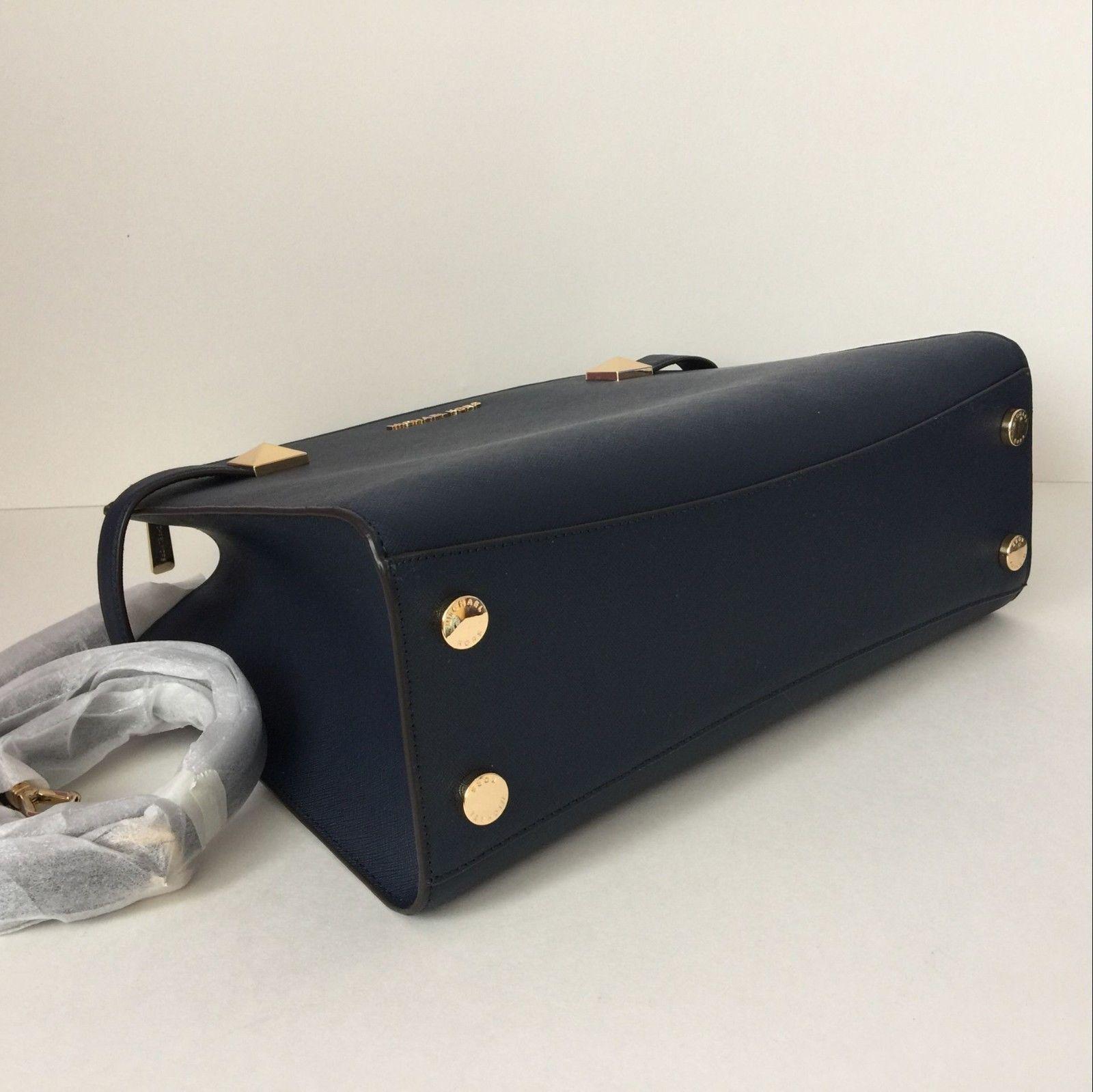 e43ab5c26f54 NWT Michael Kors Karla Medium Satchel Handbag Navy Saffiano Leather $378