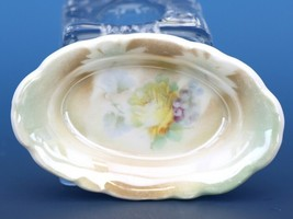 Vintage Open Salt Dip Cellar Leuchtenburg Germany Porcelain China Roses Lustre