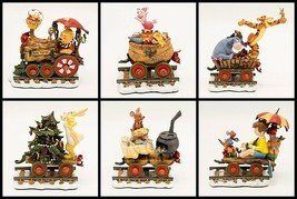 Danbury Mint Winnie The Pooh Christmas Train 6 pc Disney w Orig Box Styr... - $79.95