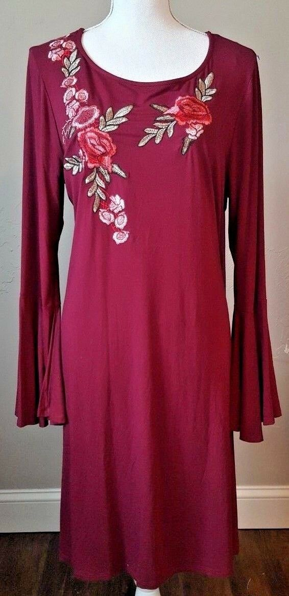 Spense Women's Rose Floral Applique Pinot Noir Color Dress Bell Sleeves Size XL