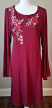 Spense Women's Rose Floral Applique Pinot Noir Color Dress Bell Sleeves ... - $35.64