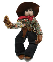 Vintage Rodeo Cowboy Western Yarn Doll Wire Armature Denim Jeans Lasso G... - $28.01