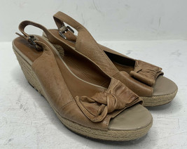 Franco Sarto Women's 8.5 Tan Leather A-Camino Espadrille Wedge Slingback Sandal - $19.70