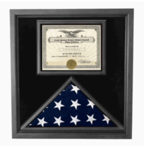 PREMIUM US WOOD FLAG AND DOCUMENT CASE SHADOW BOX - $522.49