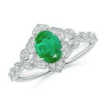 0.80ct Oval Emerald Trillium Floral Shank Cocktail Ring in Gold Size 3-13 - $1,034.10