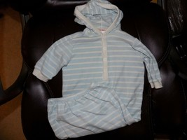 HANNA ANDERSSON  Hooded Sleeper Gown Sky Blue/White Striped Size OS Infa... - $23.78