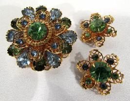 Vintage Blue & Green Chaton & Teardrop Rhinestone Brooch Pin & Clip-on E... - $44.55