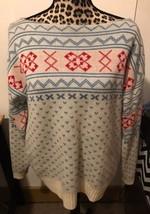 PURITAN Wool Blend Boat Neck Nordic Ski Sweater White Blue Red Women Siz... - $14.01