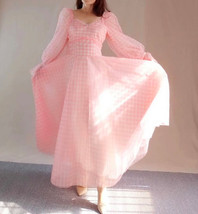 Pink Tutu Dress for Adults Gown Long Sleeve Retro Pink Plaid Tutu Birthday Gown image 6