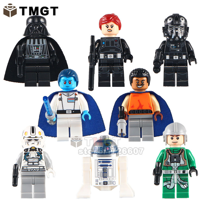 Used, 8pc Darth Vader TIE Fighter Pilot Grand Admiral Thrawn minifigures building toys for sale  USA