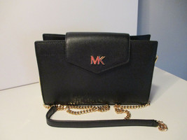 Michael Kors Large Convertible Crossbody Or Clutch Black Leather New Wit... - $138.59