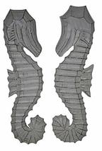 Hand Carved White Wash Wood Set of 2 Seahorses Wall Art Hanging Tropical Nautica - $29.64