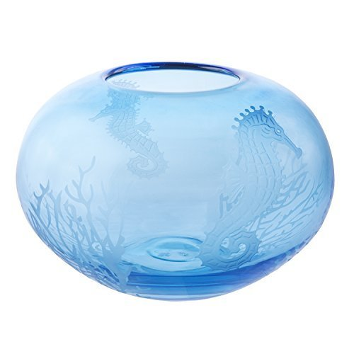 Beachcombers Round Vase w/Etched Sea Life