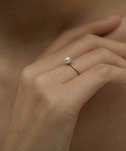Freshwater Pearl Ring |Tiny Pearl Ring|Dainty Stacking Ring |Pearl Ring|Stacking - $29.00