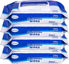 4 Pack Caresour 75% Alcohol-Based Sanitizing Wipes (50-Count)