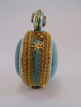 1950s Sewing Pin Cushion ornate aqua velvet free standing ROUND image 4