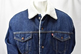 Levi's Authentic Sherpa Lined Button Blue Denim Jacket Size XL - $108.85