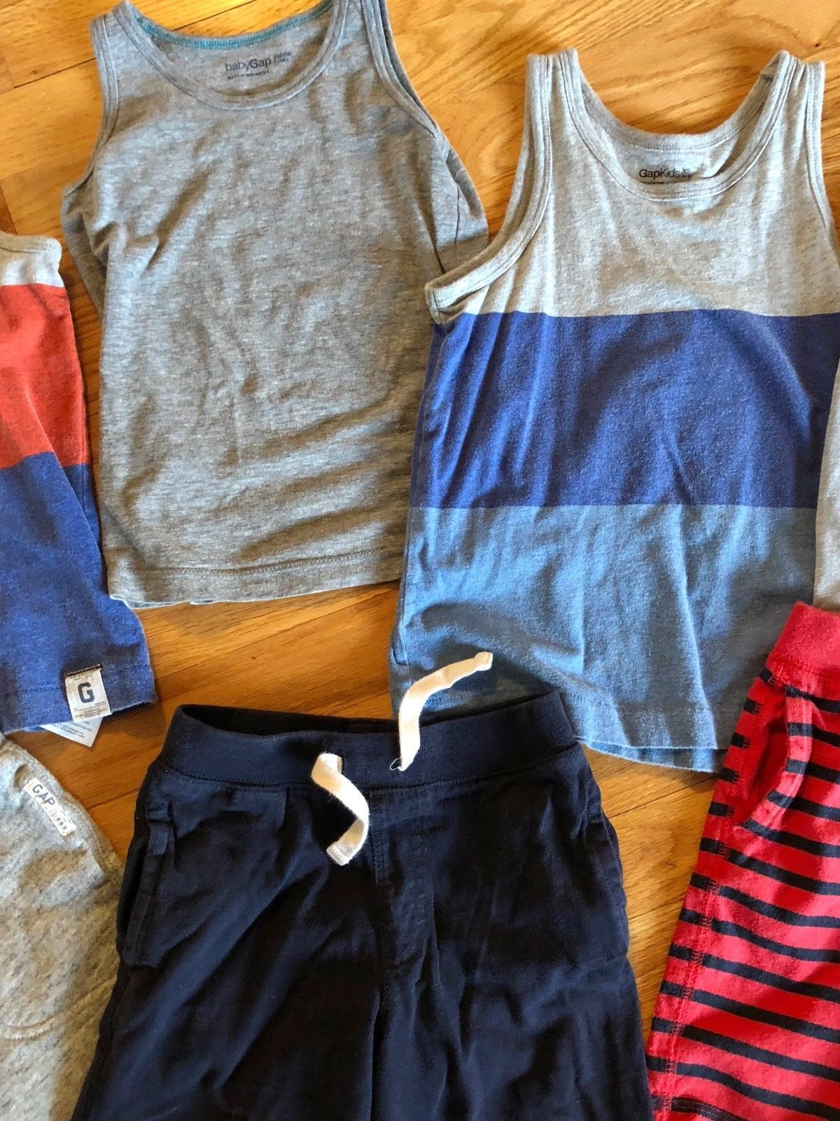 BABY GAP Tank Top + Knit Pull On Shorts Lot of 7 - Summer Outfits Blue Gray Red image 3
