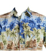 Cooke Street Huts Beach Palm Trees Medium Hawaiian Aloha Shirt - $29.63
