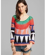 NWT FREE PEOPLE MODERN ART GEOMETRIC OPEN KNIT CROCHET PULLOVER SWEATER ... - $71.99