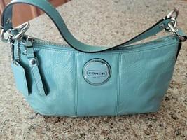 COACH 15141 Signature Patent AQUA BLUE Leather Demi Crossbody Bag Purse NWT - £101.75 GBP