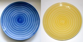 Citrus Grove Spiral painted dinner plate blue o... - $12.00