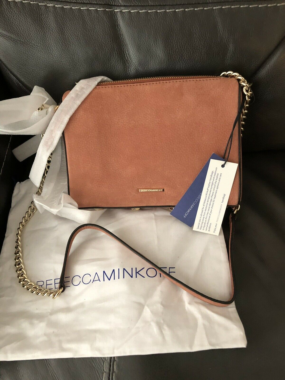 Primary image for Rebecca Minkoff Avery Nubuck Leather Crossbody Brick Bag Handbag Goldtone Hardw