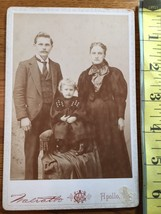 Cabinet Card Young Couple & Cute Blonde Girl on Chair Apollo, PA 1860-80! - $9.00