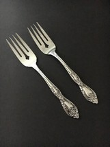 Oneida Galveston 2 Salad Forks Floral Embossed Stainless Flatware - $14.80