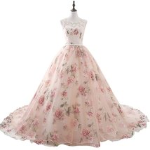 Women's Ball Gown Embroidery Floral Print Long Evening Gown Formal Prom ... - $126.98