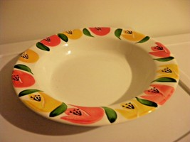 PIER 1 ITALY ORANGE YELLOW FLOWERS RIMMED SOUP BOWL set of 7 - $32.36