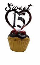 """3 pcs Sweet 15 signs silver mirror like acrylic 5"""" x 3"""" cake top pick decoration - $8.90"""