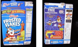 Kelloggs Frosted Flakes Cereal Box Flat Disney Darkwing Duck Bubble Blower - $16.99
