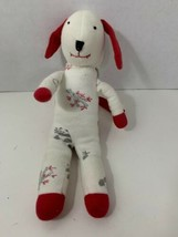 plush sock puppy dog stuffed animal baby soft toy red white panda bamboo print  - $7.95