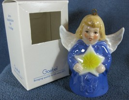 Goebel Annual Angel Bell Ornament 1989 Star Purple Blue Boxed West Germany Vtg - $34.95