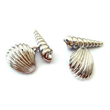 Detailed Chain Style Beach Shells silver not real shells Cufflinks in gift box