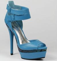 Blue Faux Leather Snake Skin Open Toe High Heel Double Platform Sandal 8.5 us - $9.99