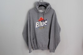 Mens XL Labatt Blue Beer Advertisement Casual Hoodie Hoodie Sweatshirt Gray - $50.73 CAD