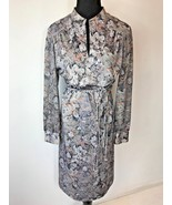 Vintage 1970s Gray Floral Slit Neckline Braided Belt Dress size L 16 USA... - $14.95