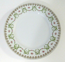 Empire China Austria Marked Salad Plate Gold Green Leaves Dark Pink Rose... - $17.99