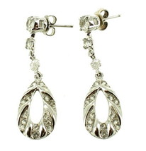 Antique Deco Sterling Ornate Flower Drop Hoop Post Earrings w Crystals 1... - $56.69