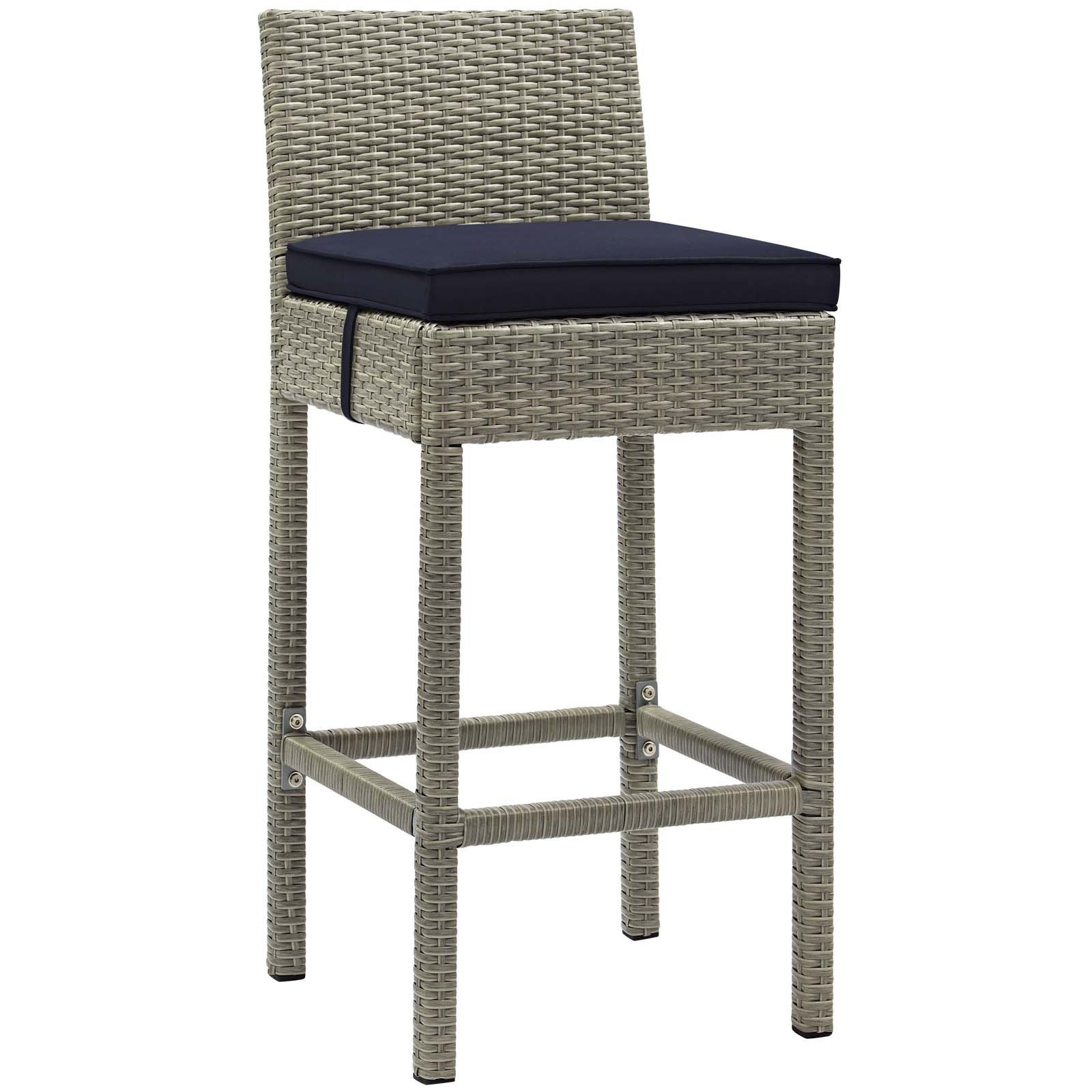 Conduit Outdoor Patio Wicker Rattan Bar Stool Light Gray Navy EEI-2800-LGR-NAV