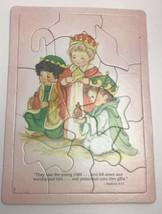 Frame Tray Cardboard  Puzzle Christmas Nativity Mathew 2:11 Vintage Scri... - $14.85