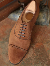 Handmade Men's Brown Suede Lace Up Dress/Formal Oxford Shoes image 4
