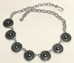 Awesome Vintage Textured Aluminum Disk Link Style Necklace - Made in Ger... - $6.93