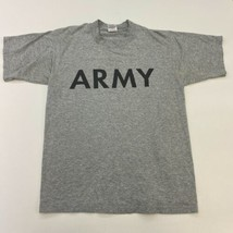 Vintage Army T-Shirt Mens M Gray Crew Neck Cotton Blend Spell Out - $17.99