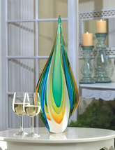 Art Glass Decorative Statue Cool Flame Blues, Greens, Yellow Modern Contemporary - $56.95