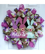 Hello Spring Or Easter Wreath With Three Bunnies Handmade Deco Mesh - $94.99